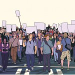 Illustration of peaceful crowd protest with blank signs in high detail
